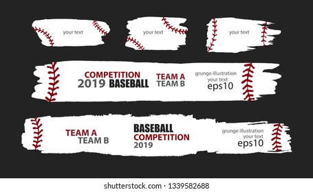 Vector grunge baseball. Templates sporty design. Print for T-shirt, flyer, horizontal abstract banner, brush strip.