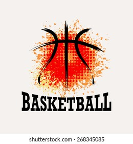 Vector Grunge Basketball  ( T-shirt, Poster, Banner, backdrops design )