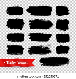 Vector grunge black watercolor brush strokes isolated on transparency background.