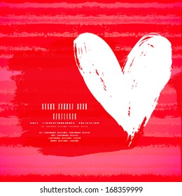 Vector grunge card with hand painted heart shape on striped background in red. Template for St. Valentines day card, romantic wedding invitation, promotion coupon of gift for two