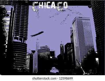 Vector grunge Chicago silhouette