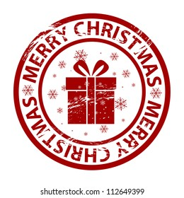 Vector grunge Christmas stamp with gift box
