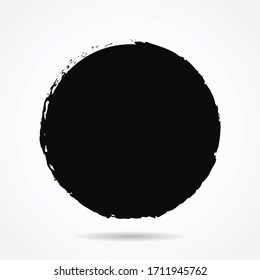 Vector grunge circle version 2 with simple style, grunge round shape, grunge banner - Color circle brush stroke with black color isolated on white background, Vector Illustration eps 10
