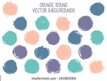 Vector grunge circles isolated. Rough stamp texture circle scratched label backgrounds. Circular icon, badge shape, round button elements. Grunge round shape banner backgrounds set.
