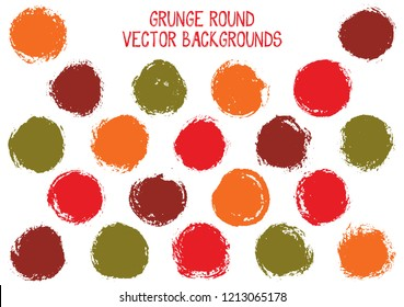 Vector grunge circles. Modern stamp texture circle scratched label backgrounds. Circular icon, chalk logo shape, oval button elements. Grunge round shape banner backgrounds set.