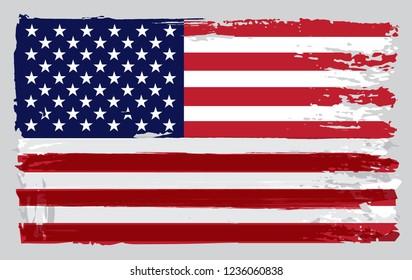 Vector grunge dirty American flag