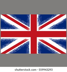 Vector Grunge Flag of United Kingdom on Grey Background. English Symbol of Independence.