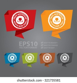 Vector : Grunge Free Download Paper Origami Speech Bubble or Speech Balloon Infographics Sticker, Label, Sign or Icon