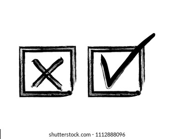 Vector grunge hand drawn check marks and check boxes icons