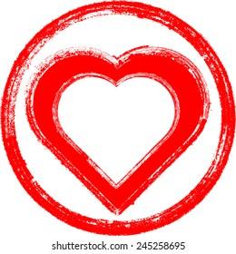 Vector Grunge Heart . Brush Stroke  Element for your Design .
