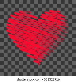 vector grunge heart, Valentine day, illustration vintage design element.