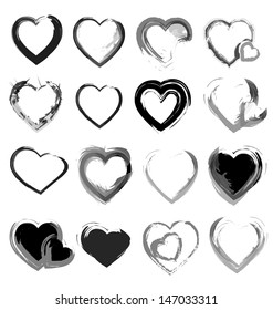 Vector grunge hearts collection for multipurpose use in design