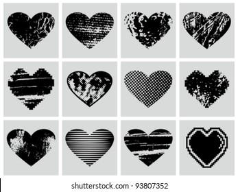 Vector grunge hearts set.