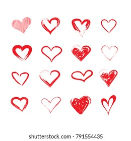 vector grunge hearts set, Valentine day, illustration vintage design element