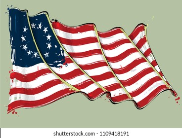 Vector grunge Illustration of an American Revolution Betsy Ross waving Flag. All elements neatly on well defined layers