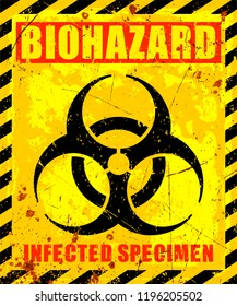 Vector grunge illustration of Biohazard warning label sign. Infected Specimen, yellow, black and red danger symbol with worn, scratchy and rusty textures.