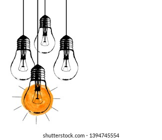 Vector grunge illustration with hanging light bulbs and place for text. Modern hipster sketch style. Unique idea and creative thinking concept.
