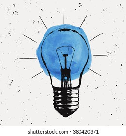Vector grunge illustration with light bulb. Modern hipster sketch style. Idea and creative thinking concept.