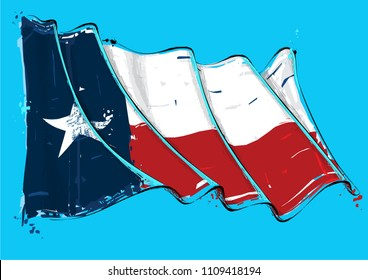 Vector grunge Illustration of a Texan waving Flag. All elements neatly on well defined layers