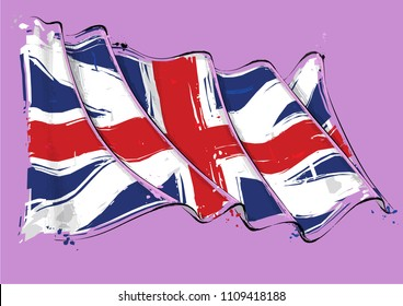 Vector grunge Illustration of a waving Union Jack of the period 1606-1801 also named and The Kings Colors. This was the British flag design during the American Revolution