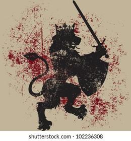 Vector Grunge Lion King Design (Heraldic Symbol)