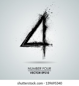 Vector grunge number - four