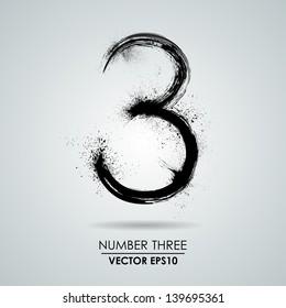 Vector grunge number - three