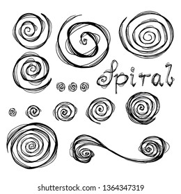 Vector grunge organic ink textured spiral set. Abstract design elements set. Swirl motion brush stroke. Overlay artistic  shape illustration. Grungy aged distressed moving curve. Uneven twirl circle.