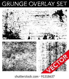 Vector Grunge Overlay Set. Simply place texture over any object to create distressed effect.