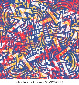 Vector grunge pattern with doodles and scribbles, spray paint and splashes. Bold print in sport style of 1980s with grafiti elements in bright colors. Seamless background. Hand drawn geometric texture