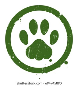 Vector grunge paw sign. Editable and in isolated background.