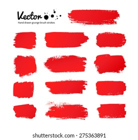 Vector grunge red paint brush strokes collection.