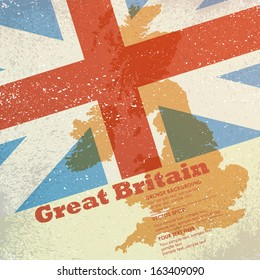 Vector grunge retro design - Great Britain map on flag background