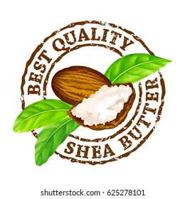"Vector grunge rubber stamp ""Best quality shea butter"" on a white background. Shea nuts, butter and green leaves."