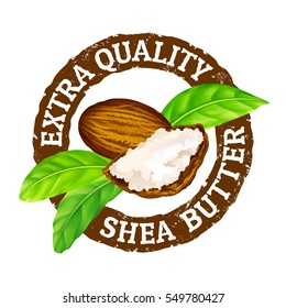 "Vector grunge rubber stamp ""extra quality shea butter"" on a white background. Shea nuts, butter and green leaves."