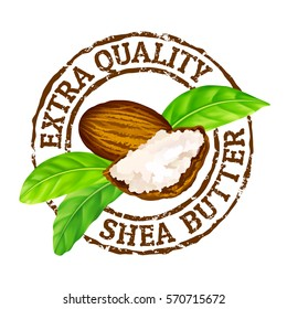 """Vector grunge rubber stamp """"extra quality shea butter"""" on a white background. Shea nuts, butter and green leaves."""