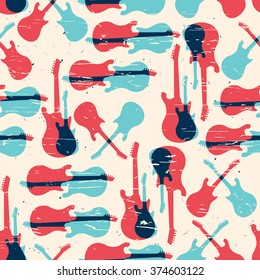 Vector grunge seamless pattern with guitar