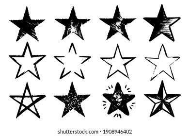 Vector Grunge Set of different Black Star Imprints Isolated on White Background. Hand Drawn Paint Elements.