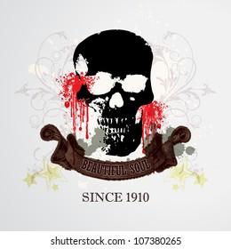 Vector Grunge Skull Background / Beautiful Soul