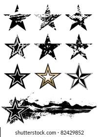 Vector grunge stars set.