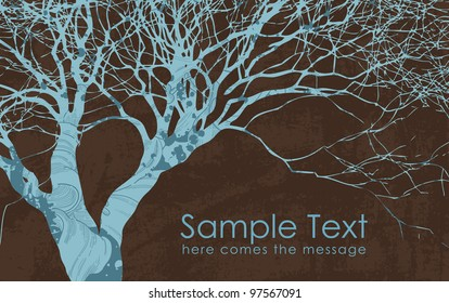 Vector grunge style business card with tree