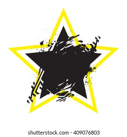 Vector grunge stylized geometrical shape with splashes and splatters. Star symbol exploded and damaged design element.