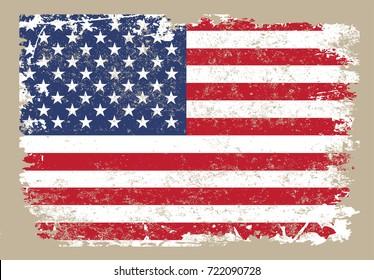 Vector grunge USA flag. Vintage American flag.