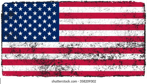 Vector grunge USA flag.American flag with grunge texture.