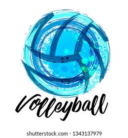 Vector Grunge Volleyball ( T-shirt, Poster, Banner, backdrops design ) - Vector