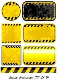 Vector grunge warning strips set.