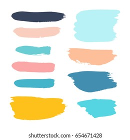 Vector grunge watercolor ink texture set of hand painted pastel powder color dry brush splashes, strokes, stains, spots, elements, stripes, lines, templates, dirty geometric shapes. Freehand drawing.