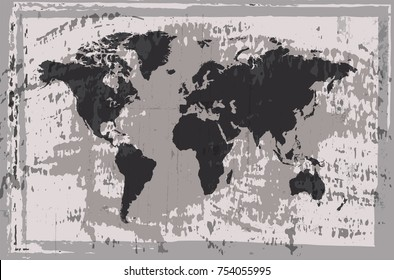Vector grunge world map.Old map of the world.