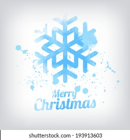 Vector grungy textured hand painted watercolor blue snowflake icon with paint stains and blots. Christmas greeting card