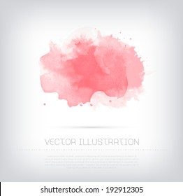 Vector grungy textured pink watercolor blot background